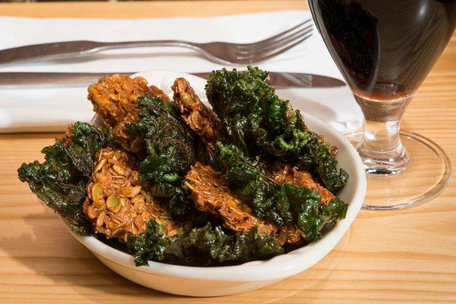 Chili scented kale chips with pumpkin-sunflower seed granola bites is a popular small plate.